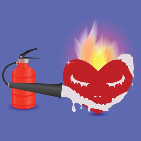 colorful illustration with extinguisher and heart for your design illustration