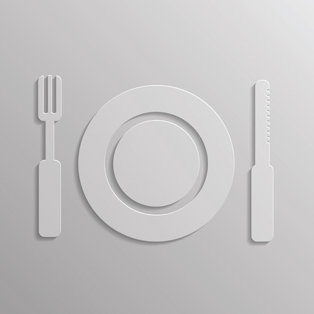 illustration with fork and spoon icon for your design illustration
