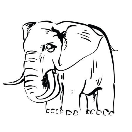 black mammoth:  illustration with  elephant  for your design Stock Photo
