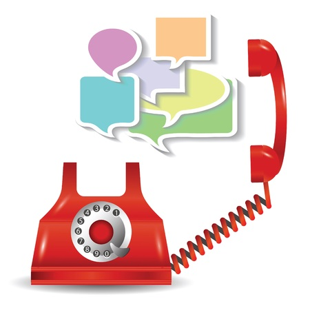 colorful illustration with red telephone and speech bubbles  for your design illustration