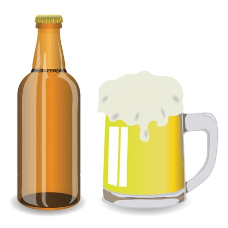 colorful illustration with bottle and mug of beer  for your design illustration