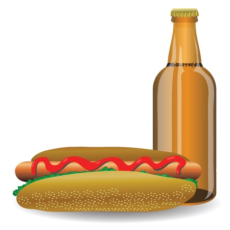 colorful illustration with  freshhot dog and bottle of beer  for your design illustration