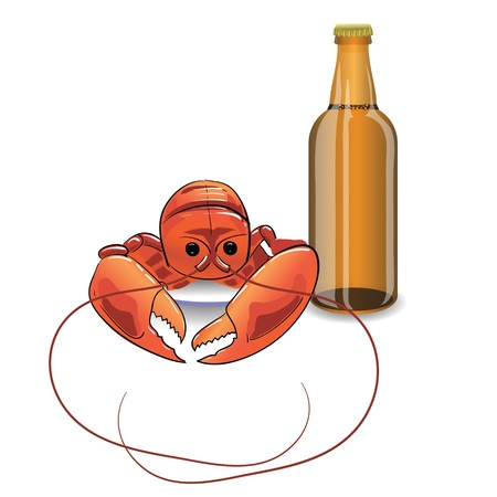 delicacy: colorful illustration with  bootle of beer and lobster  for your design Stock Photo
