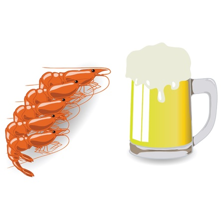 colorful illustration with mug of beer and shrimps  for your design illustration