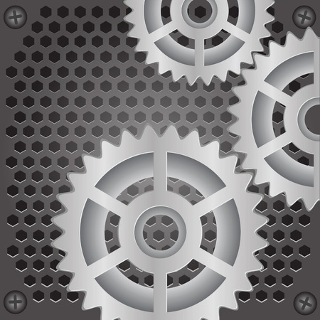 robotic transmission: colorful illustration with gears background  for your design Stock Photo