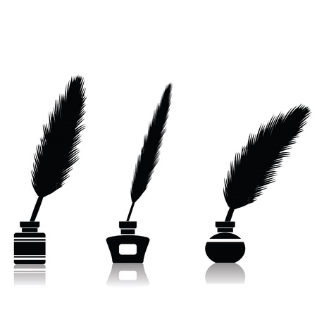 allegory:  illustration with feather pen for your design Stock Photo