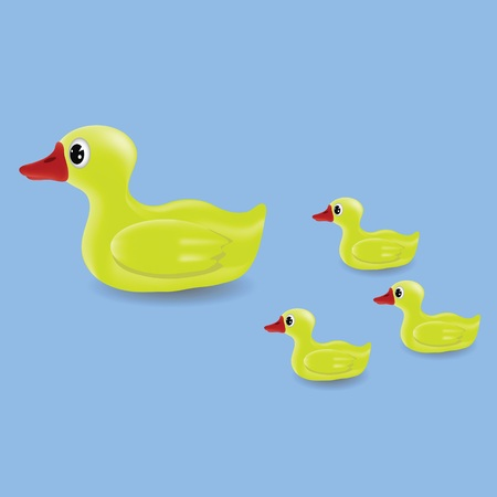 colorful illustration with duck and ducklings for your design illustration