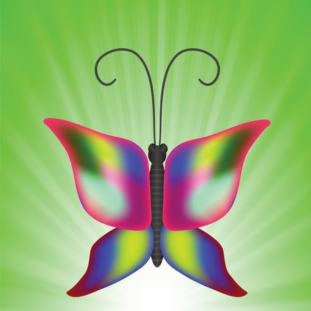 painterly effect: colorful illustration with butterfly for your design Stock Photo