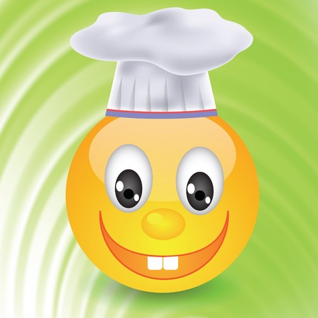colorful illustration with smile in  chefs hat for your design illustration