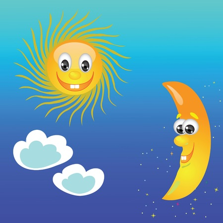 colorful illustration with sun and moon on a sky background illustration