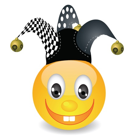 jester hat: colorful illustration with smile in a jester hat for your design