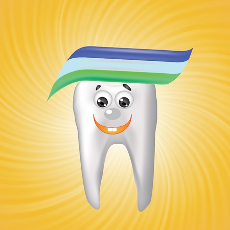 colorful illustration with tooth on a orange background for your design illustration