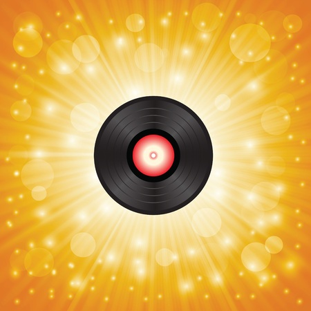 colorful illustration with  music shellac on a star orange background for your design illustration