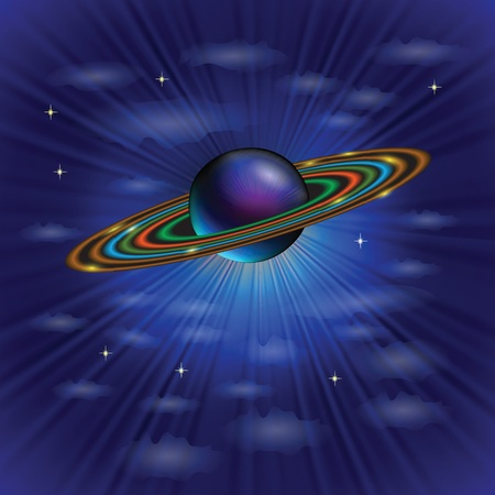 light emission: colorful illustration with planet from solar system for your design