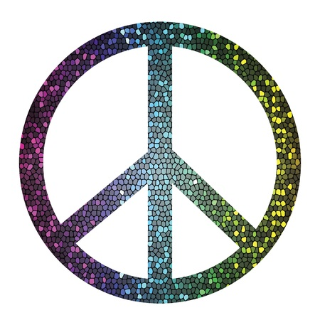 colorful illustration with  peace symbol on a white background for your design