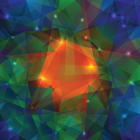 ray tracing: colorful illustration with abstract crystal background for your design