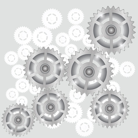 robotic transmission:  illustration with  gears symbol on a gray background for your design