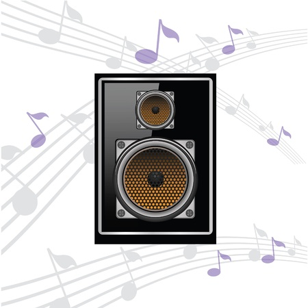 colorful illustration with sound speaker for your design