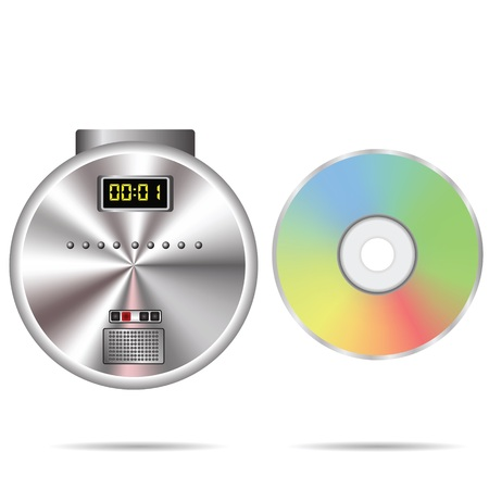 writable: colorful illustration with CD player and compact disc on a white background