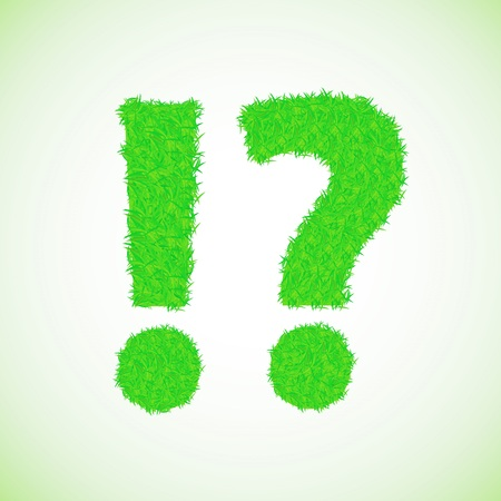 colorful illustration with grass question mark on a green background Vector