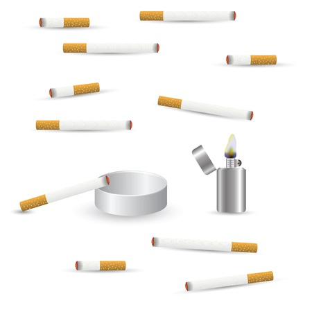 smoulder: colorful illustration with cigarettes on a white background for your design