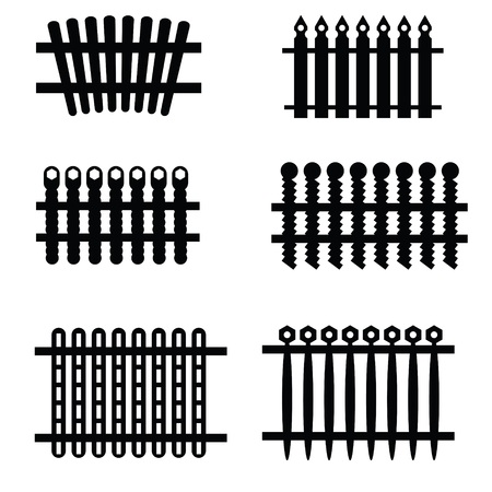 illustration with silhouettes of fences on a white background for your design