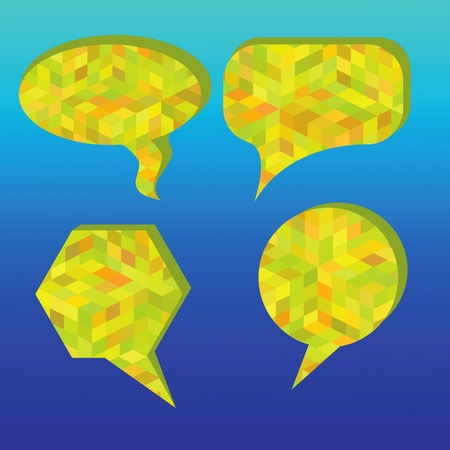colorful illustration with speech bubbles on a blue background for your design