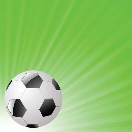 colorful illustration with  soccer ball on a green wave background for your design Illustration