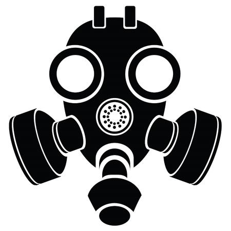 army gas mask: ilustraci�n con la silueta de la m�scara de gas sobre un fondo blanco para su dise�o