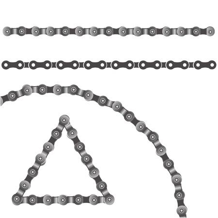 cadenas: colorida ilustración con cadena de bicicleta sobre un fondo blanco para su diseño Vectores