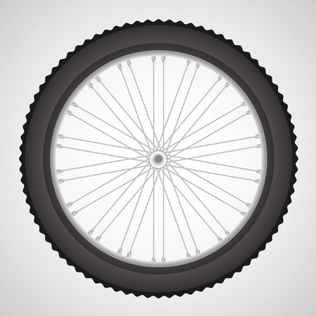 velocipede: colorful illustration with  bike wheell on a gray background for your design Illustration