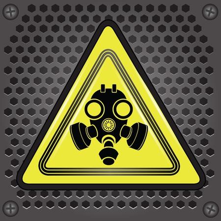 colorida ilustración con signo amarillo máscara de gas para su diseño