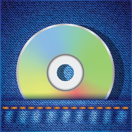 cd recorder: colorful illustration with CD disc on a blue jeans background for your design Stock Photo