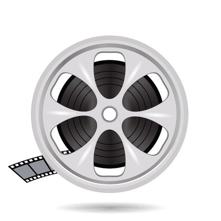 cinematograph: colorful illustration with cinema film tape on disc for your design Stock Photo