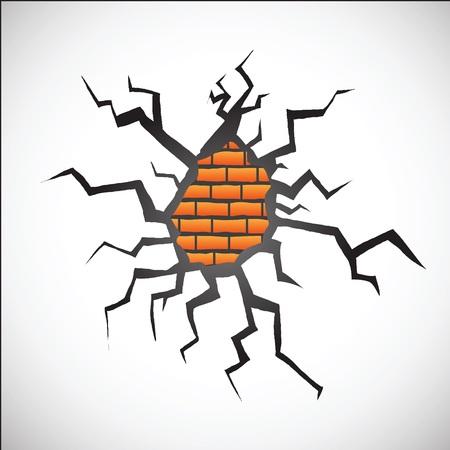 toughness: parete colorata illustrazione con crackl su sfondo bianco per la progettazione Vettoriali