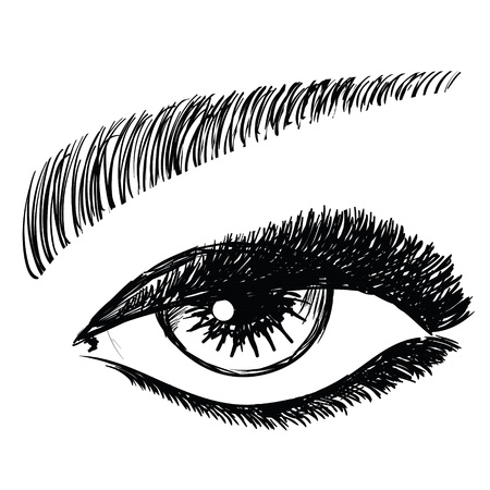 women face stare: colorful illustration with female eye on a white background  for your design Illustration