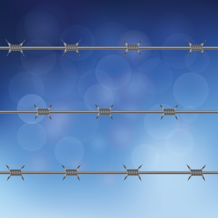 barbed wire fence: colorful illustration with barbed wire fence on a blue sky background  for your design