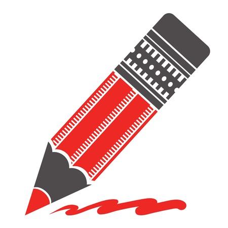 reviser: illustration avec la silhouette de crayon rouge sur un fond blanc