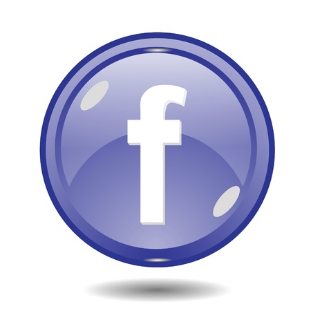face book: Ilustraci�n de la bola azul con la letra f sobre un fondo blanco para su dise�o Vectores