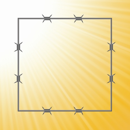 barbed wire frame: colorful illustration with barbed wire frame on a sun light background  for your design