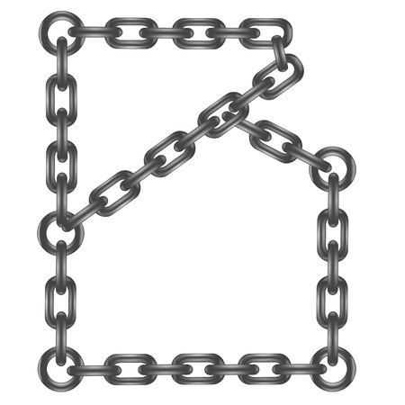 chained link:  illustration with chain letter  on a white background  for your design