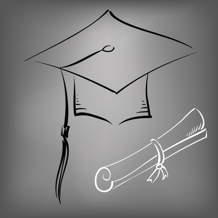 illustration with black graduation cap on a gray background
