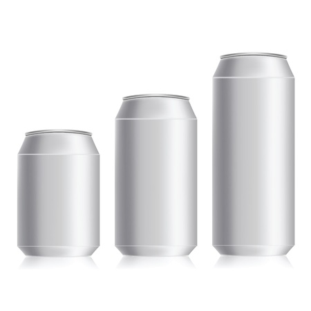 colorful illustration with drink cans  on a white background Vector