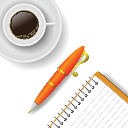 colorful illustration with  cup of coffee and pen on a white background Vector