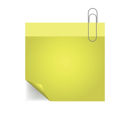 colorful illustration yellow note with pin with paper pin  on a white background Vector