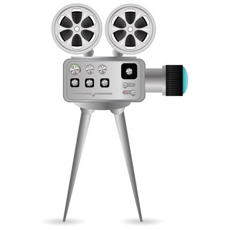 cinematografico: ilustraci�n colorida con proyector de pel�culas sobre un fondo blanco