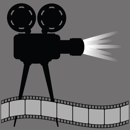 tripod projector: old movie projector silhouette and film strip on a gray background Illustration