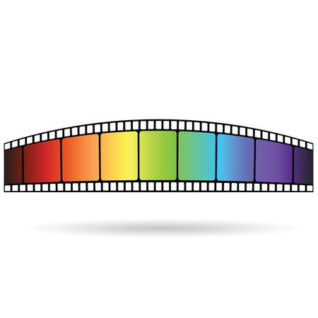 colorful illustration with Old film strip  on a white  background