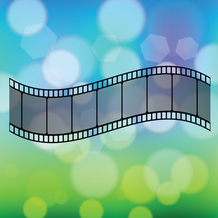 colorful illustration with Old film strip  on a blurred  background Иллюстрация