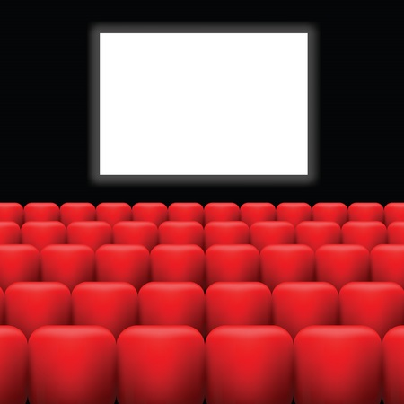 cinema screen: colorful illustration with cinema screen  and red seats on a dark background